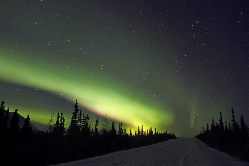 Northern Lights Brighten A Dark Alaskan Winter In Denali