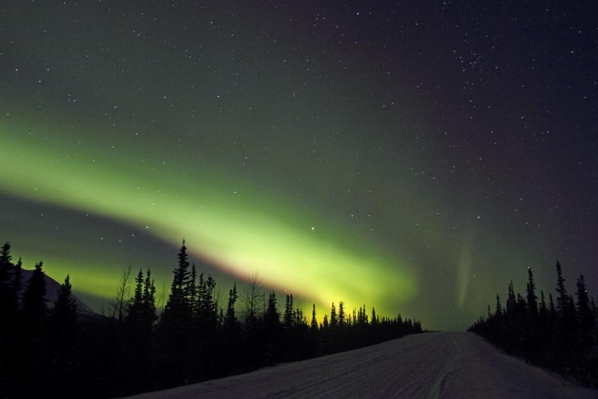 Northern Lights Brighten A Dark Alaskan Winter In Denali