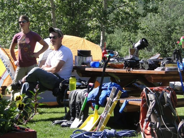 Denali climbers Jen and Andrew LaBar and their gear.